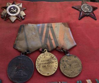 """медали: """"За Отвагу"""", """"За взятие Будапешта"""", """"За победу над Германией"""""""