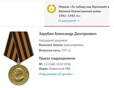 Медаль За Победу над Германией в Великой Отечественной войне 1941-45гг